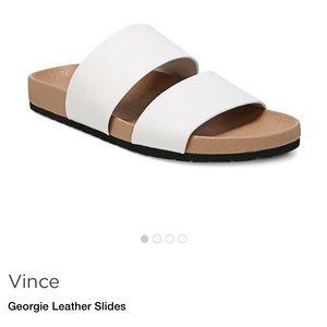Vince Georgie 6.5 white leather slide sandals flat